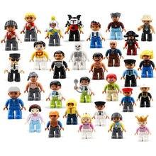 1 pçs blocos duplo tamanho grande figuras de ação cidade princesa policiais família blocos de construção compatível marca duploes educação brinquedo