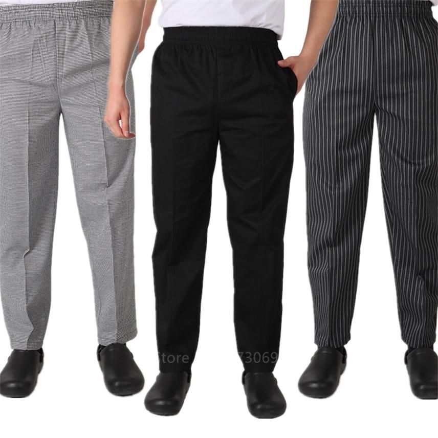 Для взрослых шеф-повара Униформа свободные брюки для мужчин еда обслуживание в полоску рабочая одежда кухня Ресторан униформа повара