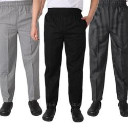 Adulto uniforme do chef calças soltas para os homens de serviço alimentar stripe trabalho wear cozinha restaurante uniforme cozinhar calça M-4XL bottoms