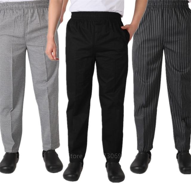 Adult Chef Uniform Loose Trousers for Mens Food Service Stripe Work Wear Kitchen Restaurant Uniform Cook Pant M-4XL Bottoms