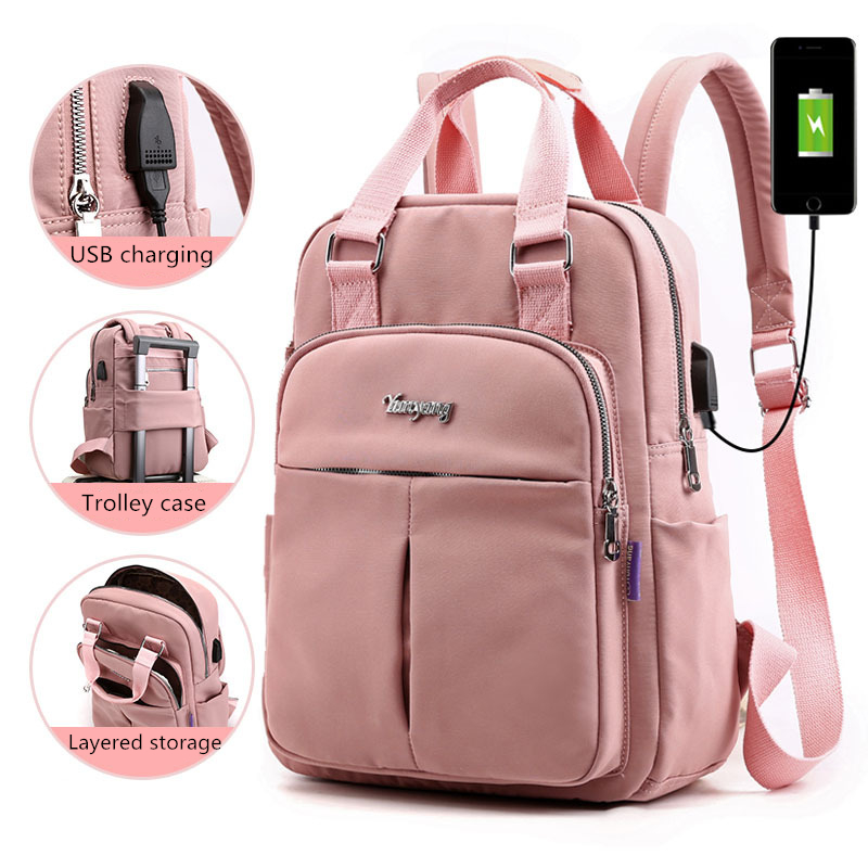 Nylon Waterproof Women Backpack USB Charging Large Capacity School Backpack School Bags For Teenage Girls Casual Travel Backpack