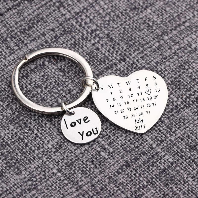 2019 อุปกรณ์เสริมบุคลิกภาพหัวใจรักคุณที่กำหนดเองปฏิทินครบรอบของที่ระลึกปัจจุบันคนรักของขวัญพวงกุญแจ Keytag