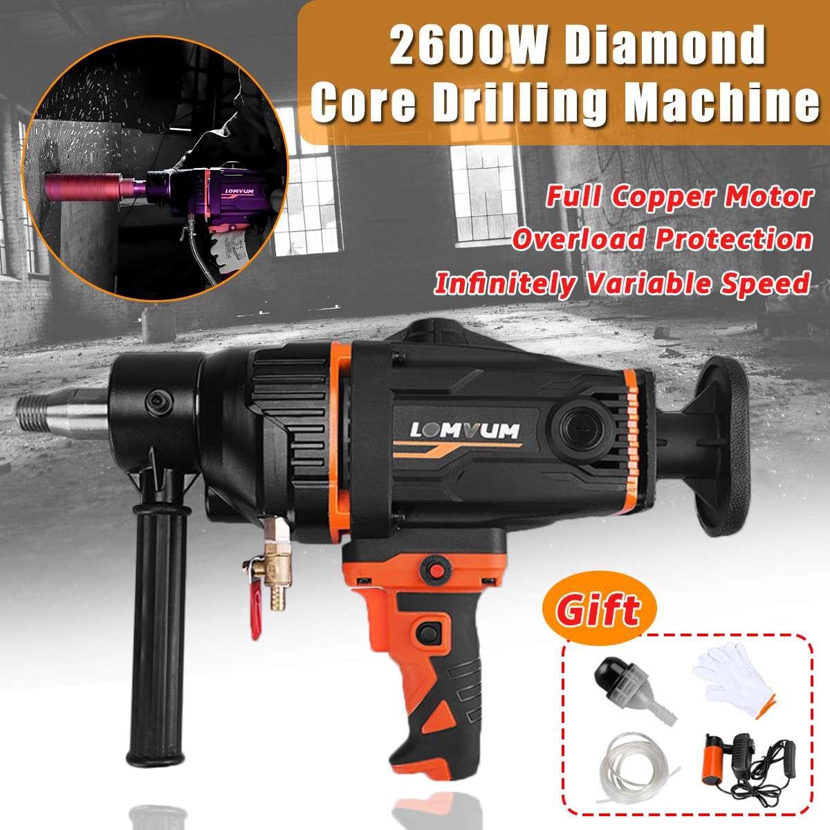 220 В 2600 Вт 280 мм Ручная алмазная буровая машина для бурения бетонных сердечников, водяная дрель с водяным насосом, электроинструменты