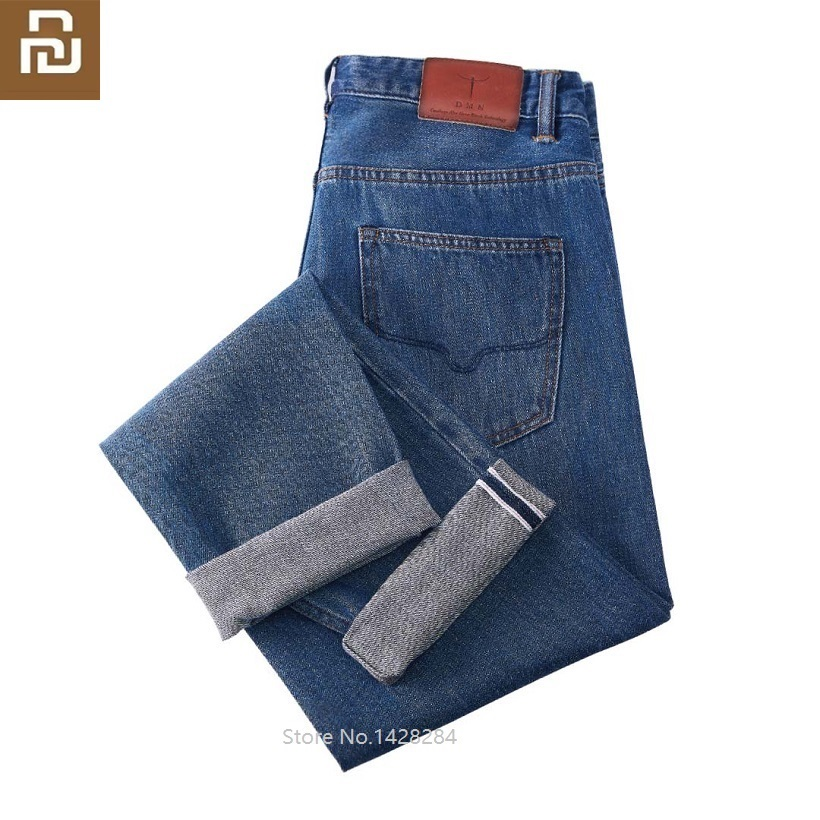 Youpin Men's Fashion Jeans Business Casual Stretch Slim Jeans Classic Trousers Comfortable Jeans Pants Male