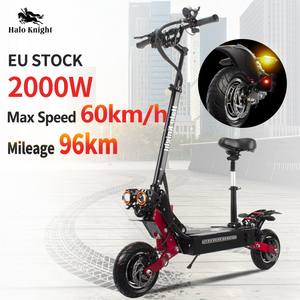 Dual Drive 2000W Adult Electric Scooter With Seat Foldable Halo Knight Fat Tire Hot Sale Electric Motorcycle Kick E Scooter()