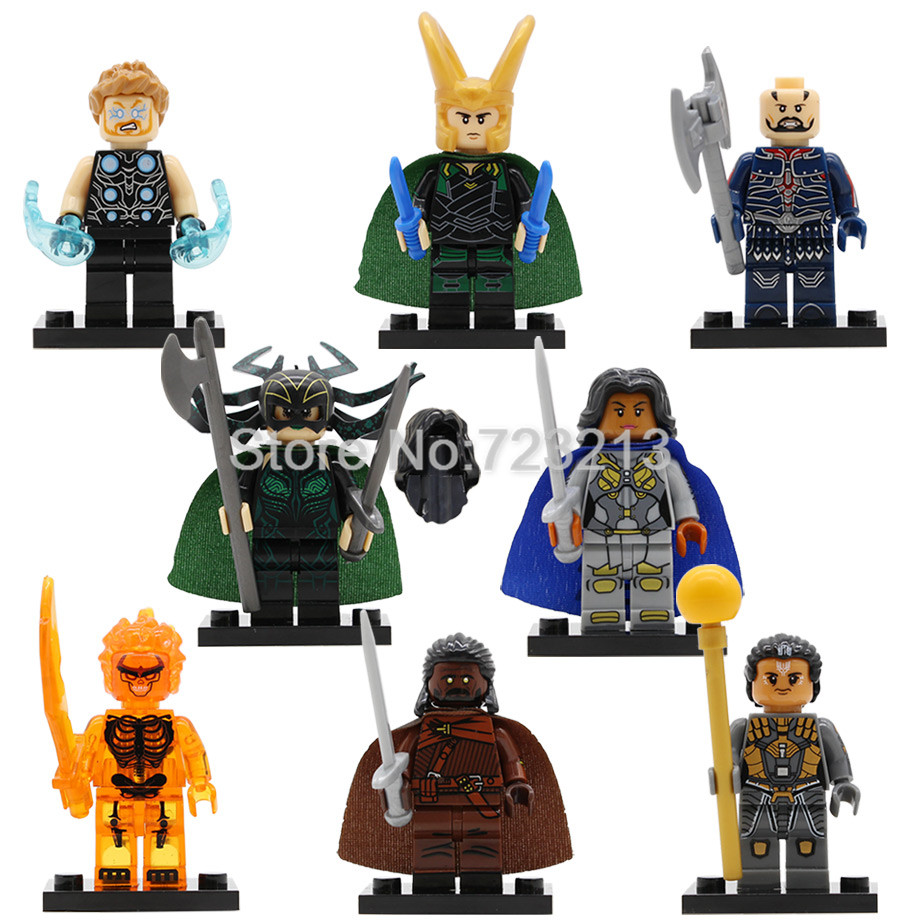 Super Hero X0185 Thor Figure Loki Topaz Heimdall Hela Surtur Valkyrie Executioner Set Model Building Blocks Kits Toys Legoing