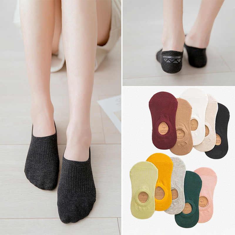 여성 코튼 보이지 않는 쇼 양말 비 슬립 여름 캔디 솔리드 컬러 실리콘 짧은 양말 패션 귀여운 얇은 발목 보트 양말