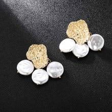 Personalized Geometric Irregular Gold Metal Drop Earrings For Women Fashion White Pearl Dangle Earring Ladies Party Jewelry Gift transgems 14k 585 white gold 1 5mm f color moissanite drop earring for women engagemet anniversary party dangle ladies earring