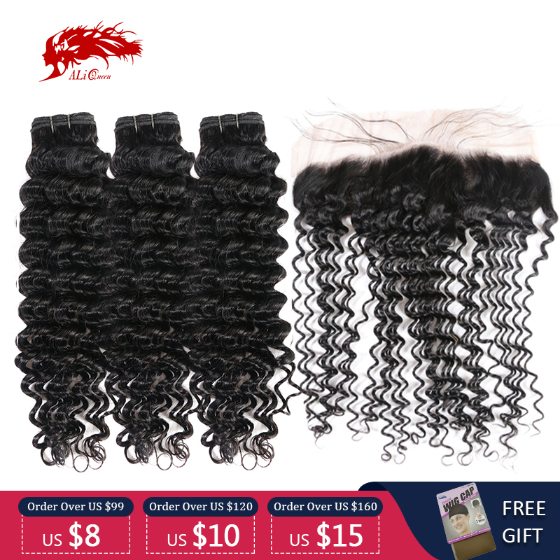 Ali Queen Hair Peruvian Remy Human Hair Deep Wave 3/4Pcs Bundles With 13x4 Lace Frontal Natural Color Bundles With Closure