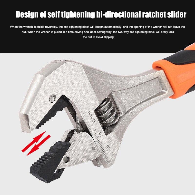 Self Adjusting Wrench Hard Alloy Ergonomic Handle Comfortable Grip Polished Chromed Adjustable service hand tool JA55