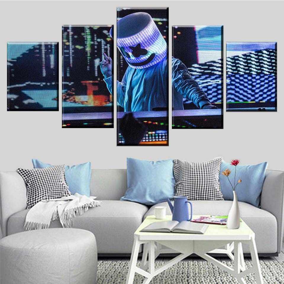 Cartel de música impreso en HD, 5 imágenes, combinación modular de arte Marshmello, pintura moderna para sala de estar, decoración del hogar, lienzo para pared