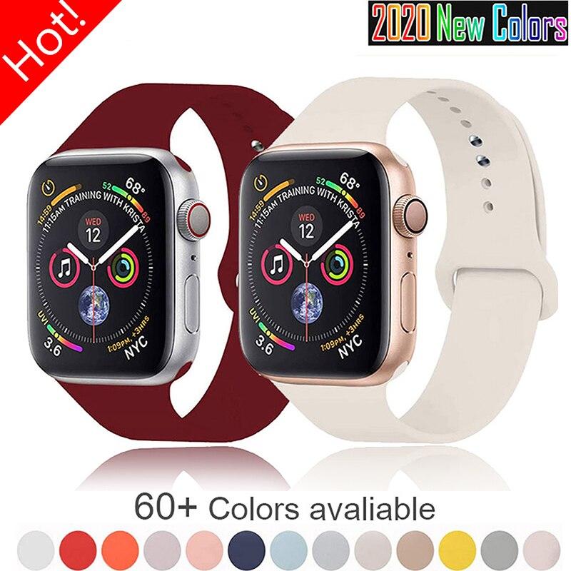 Мягкая силиконовая лента для наручных часов Apple Watch серии 6 5 4 3 2 SE 38 мм 42 мм резиновый ремешок для наручных часов iWatch, версия 6/5 40 мм 44 мм