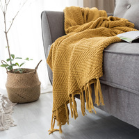 Mustard Yellow Blanket Sofa Knit Throw Blanket Tassels Fringe Blanket Travel 130x160cm Home Sofa Chair Couch Bed  50
