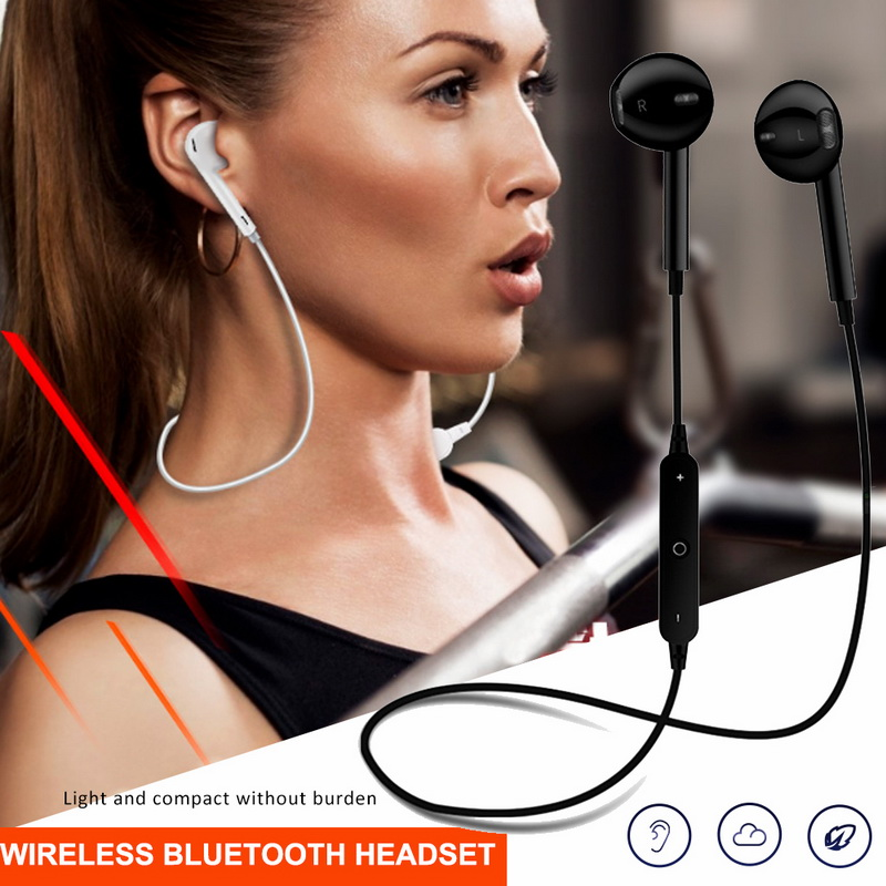 <font><b>S6</b></font> <font><b>Bluetooth</b></font> <font><b>Earphone</b></font> Wireless Headset Sport Stereo Headphones Bass Music Earpieces With For Xiaomi IPhone image