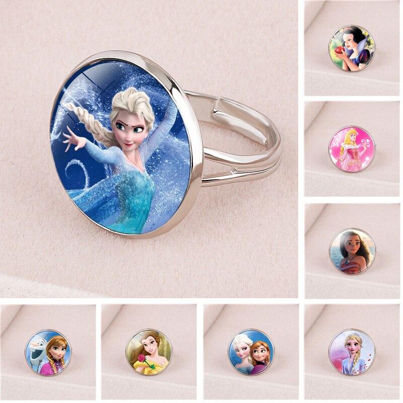 Disney Doll Cartoon Frozen Princess Anna Elsa Children's Ring Snow White Cinderella Jewelry doll Accessories gifts for girls