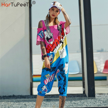 цена на Harajuku Jumpsuit Girls Summer Overalls Plus Size Loose Casual Cute Cartoon Print Colour Block Calf-length Pants Back Zip Pocket
