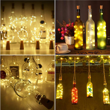 1m 10Led / 2m 20Led Copper Wire String Light Glass Bottle Stopper for Christmas Decorations Home New Year 2020 Navidad Natal
