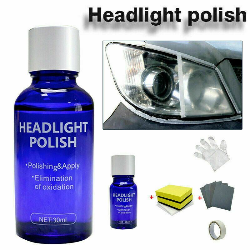 10/30ML High Density Headlight Polish Liquid Car Restoration Fluid Durable Car Repair Set With Towel Sponge Car Washing KitTSLM1