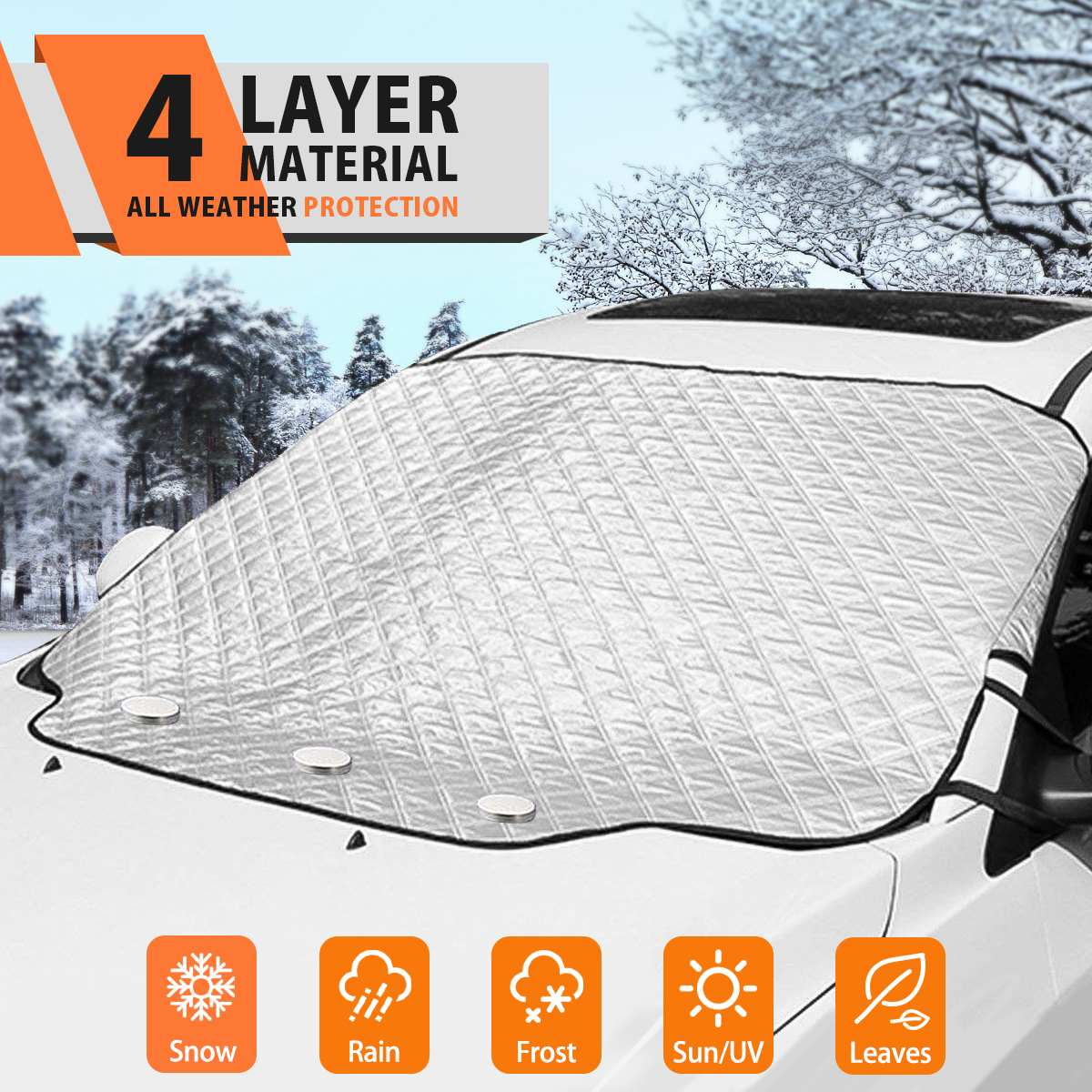 Car Windshield Snow Cover Frost Guard Winter Windshield Snow Ice Cover Magnetic Edges Car Snow Windshield Protector for Most Car|Windshield Sunshades| |  - title=