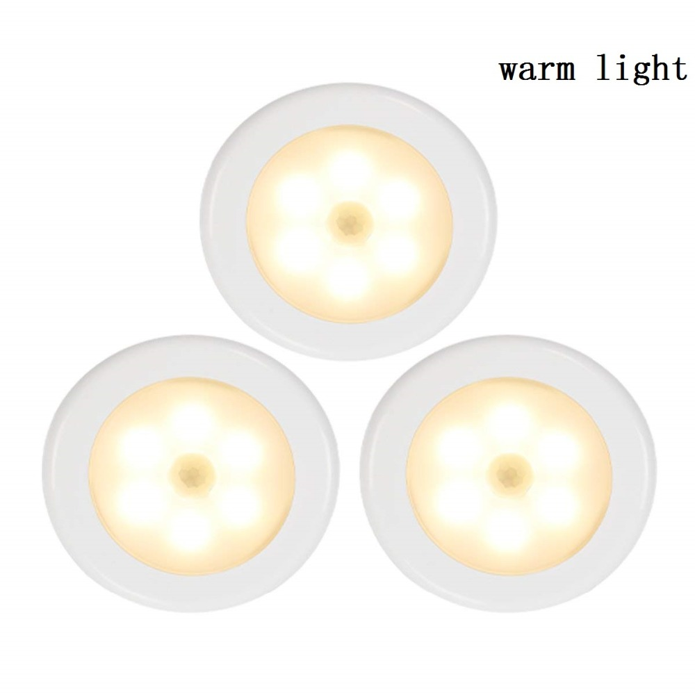 6LED Beads Sensor Night Light PIR Infrared Motion LED Bulb Auto On and Off Closet Battery Power For home Wall Lamp Cabinet Stair