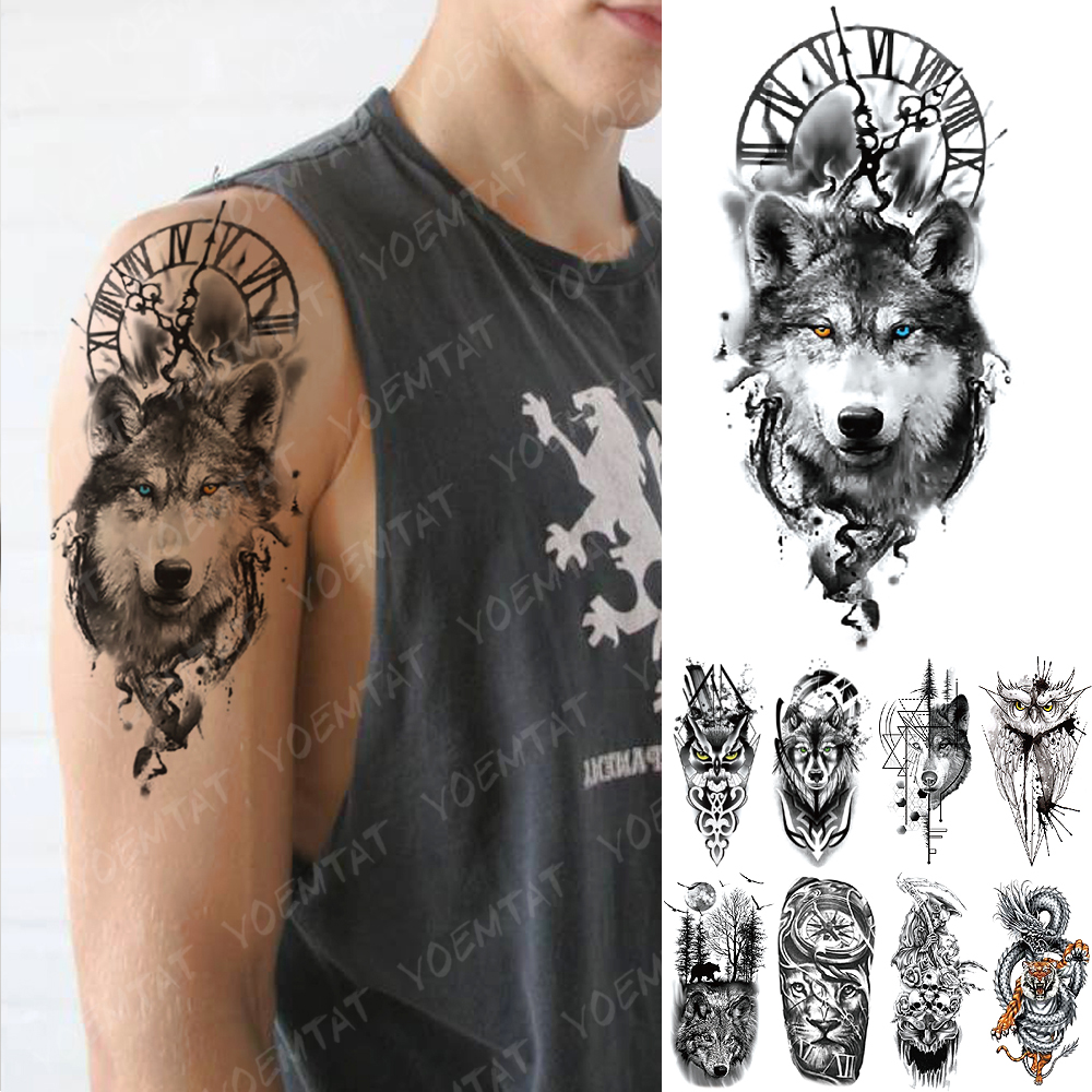 Waterproof Temporary Tattoo Sticker Clock Orange Blue Eyes Wolf Flash Tattoos Lion Compass Body Art Arm Fake Tatoo Women Men
