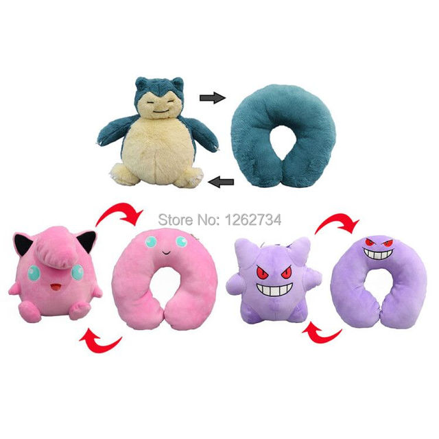 5/Lot 3 Styles Snorlax Gengar Clefairy 28CM Inside-Out U Pillow Plush Doll Animals Soft Figure Toys