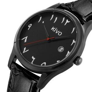 Image 4 - Algarismos árabes relógios data exibição à prova de água relógio de pulso islâmico saat pulseira de couro movimento quartzo