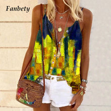 Summer Fashion Print Beach Sling T-Shirts Women Casual Sleeveless Button Loose Tops Vintage Harajuku V Neck Plus Size Tee Shirt