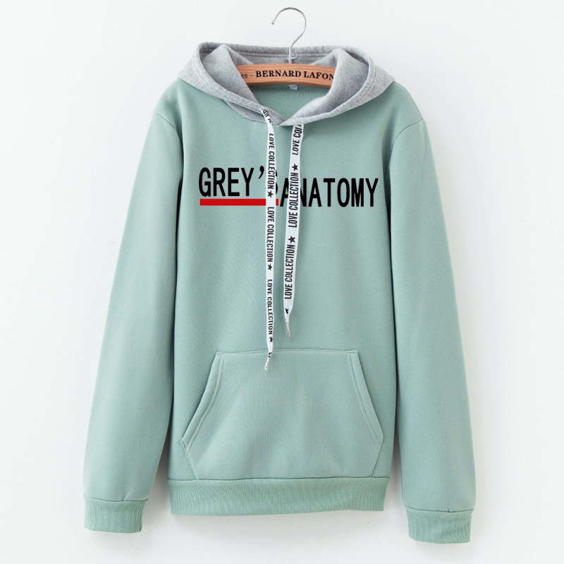 Hoodies Women 2019 Autumn Greys Anatomy Letter Printing Color Matching Sweatshirt Fashion Cotton Women Tops
