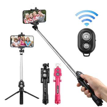 цена на 3 in 1 Wireless Selfie Stick Handheld Monopod Shutter Remote Bluetooth Selfie Stick Foldable Tripod For IOS For Android
