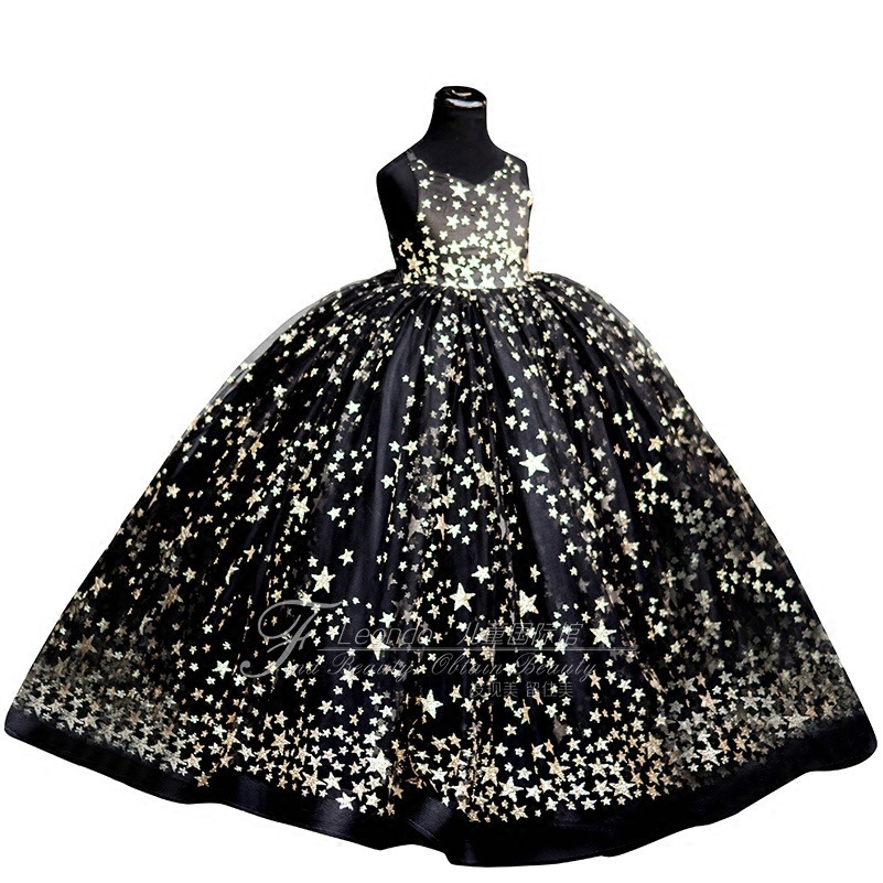 Kids Wedding Party Dresses for Girls Children Sequins Ball Gowns Pink Black Sundress Baby Infant 1 year girl baby birthday dress