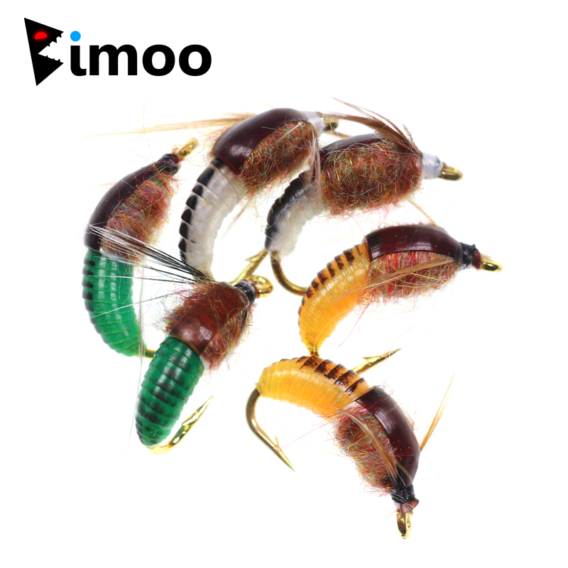 Details about  /6Pcs #12 Realistic Nymph Scud Fly For Trout Fishing Lures Bait Insect Z9C7