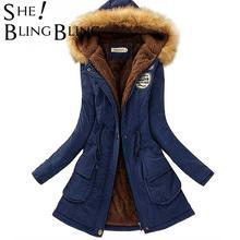 SheBlingBling-Chaqueta cálida de otoño e invierno para mujer, abrigos con Cuello de piel, chaquetas para mujer, Parka larga ajustada, sudaderas con capucha
