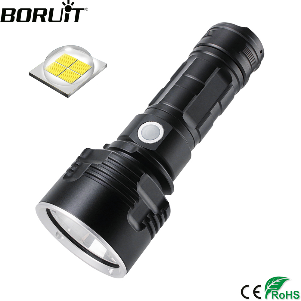 BORUiT C15 LED Flashlight Powerful 2300LM XHP50 Torch 3-Mode Rechargeable 26650 Battery Lantern Waterproof Camping Bicycle Light