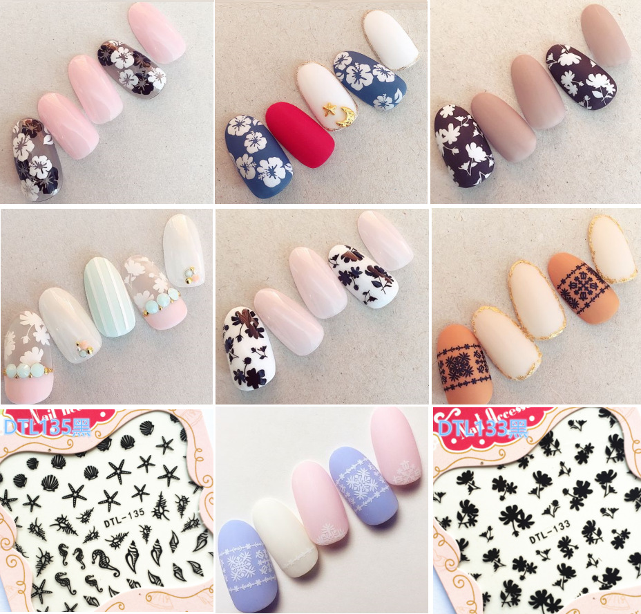 With Gum Top Form Brand 3D Manicure Flower Stickers Nail Sticker Dtl132-135 Black/white