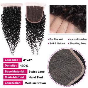 Image 4 - Shireen Haar Produkte Malaysische Verworrenes Lockiges Haar Mit Verschluss Remy Haar Weben 3 Bundles Menschliches Haar Bundles Mit Spitze Verschluss