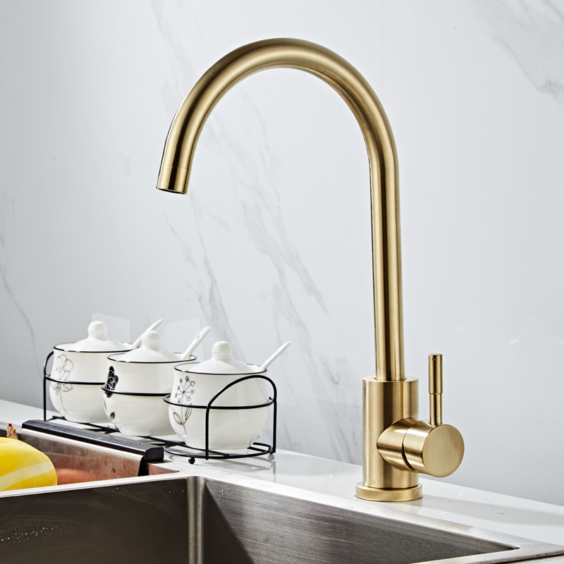 Tuqiu Kitchen Faucet Swivel Stainless Steel Sink Faucet Rotating Bathroom Faucet Sink Basin Mixer Tap Brushed Gold Sink Tap