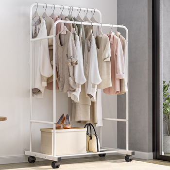Fashion Clothing Organizer Double Rod Clothing Rack White Garment Rack for Bedroom Living Room and Balcony with 2 Hanging Rods v2® living clothing повседневные брюки