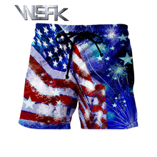 WSFK 2019 mens sports and leisure hip hop straight short masculino 3D printing july homme A1027