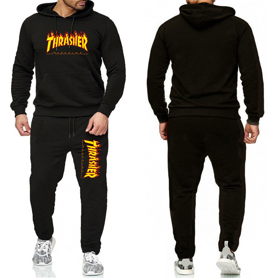 New Style Spring And Autumn Clothes Thrasher Flame Men And Women Hoodie Set Couple's Hot Selling