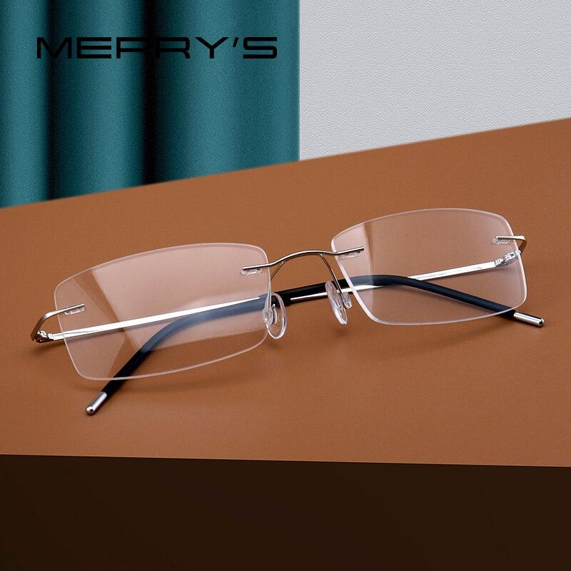 MERRYS DESIGN Men Titanium Alloy Rimless Glasses Frame Male Square Ultralight Man Frameless Myopia Optical Frames Eyewear S2227