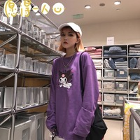 Уличная одежда с принтом дьявола фиолетовая женская футболка с длинным рукавом и круглым вырезом Повседневная Свободная Весенняя Осенняя ...