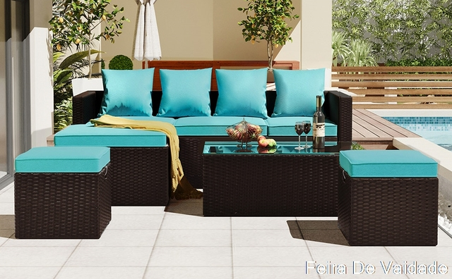 5-Piece Patio Furniture Set with Glass Table and Adjustable Chair 1