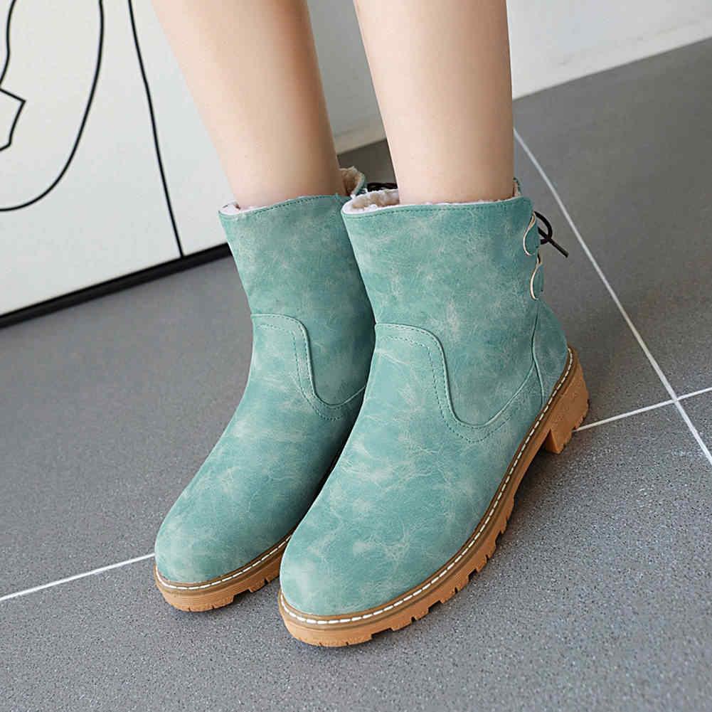 KARINLUNA ขนาดใหญ่ 34-43 เลดี้ Chunky ส้นรองเท้าผู้หญิงกระชับรองเท้าบู๊ตหิมะ Elegant สีผสมข้อเท้าขนสัตว์รองเท้าผู้หญิง