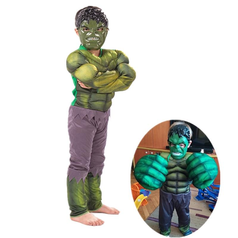 От 4 до 12 лет Детская Пижама «Халк Super Hero Мышцы костюм для детей на Хэллоуин, косплей, фентази, кулак аксессуары вечерние поставки