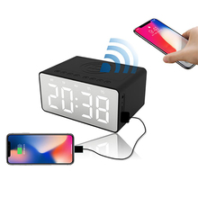 Wireless Charger Wireless Bluetooth Speaker 2 Alarm Clock USB Charging for LED Mirror Phone Portable FM Radio Subwoofer