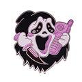 Страшный фильм убийства крик убийца звонки эмали штырь блестящие розовые значок Хэллоуина 2021 новые аксессуары