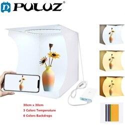 PULUZ 30cm Studio Diffuse Soft Box Folding Portable Ring Light Photo Lighting Studio Shooting Tent Box Kit 6 Colors Backdrops