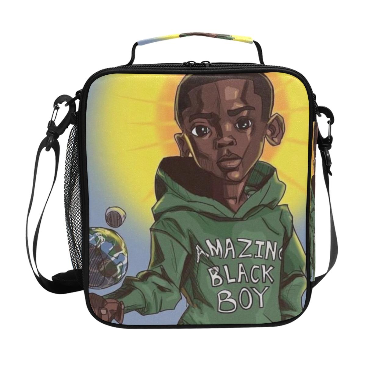 crianças térmica lancheira crianças arte americana preto