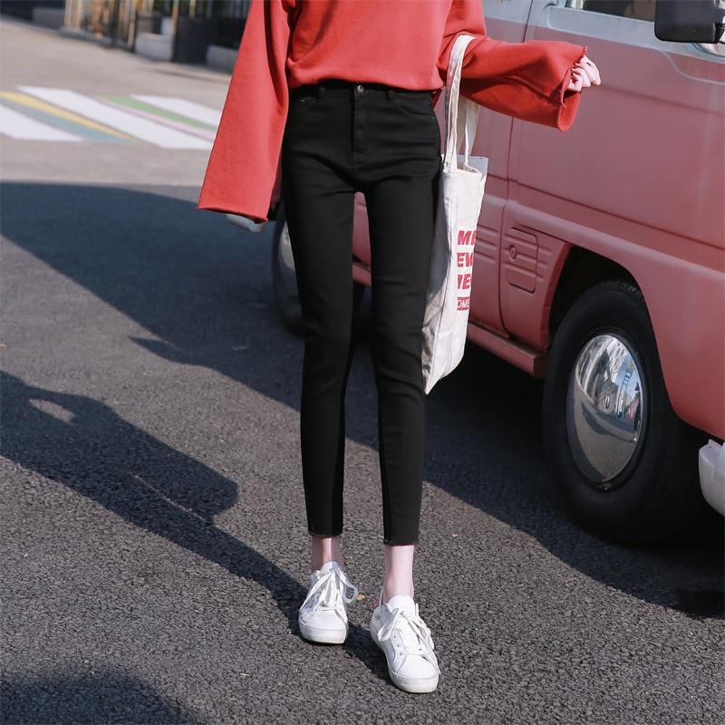 Autumn And Winter New Dark High Waist Stretch Trousers Women's Slim Feet Trousers
